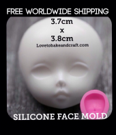 Doll face mould, fondant doll face, gumpaste face, ooak fairy, fondant face mold, Free shipping (1)